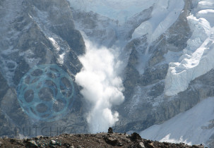 Avalanche on Everest is a photo detailing an avalanche spotted off one of the ridges of Mount Everest