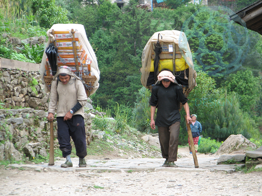 Nepali porters (possibly Sherpas, unverified) moving beer up to the villages along the Everest Base Camp Trek.