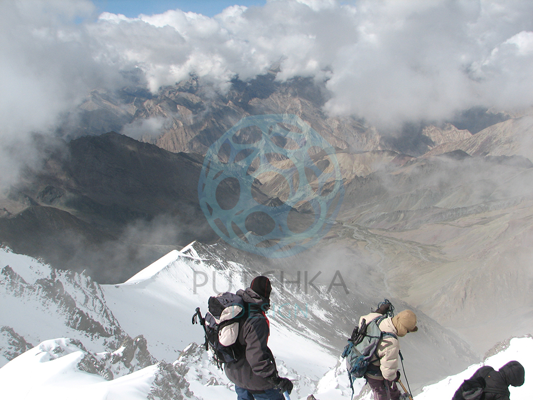Descent from the peak of Stok Kangri